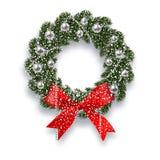 Новый Год рождества спрус ветви зеленый Венок рождества с тенью и снежинками Красные луки, серебряные шарики и иллюстрация штока
