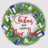 Новый Год рождества счастливое веселое Праздничный венок сделанный coniferous ветвей и украшений рождества иллюстрация штока