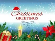 Новый Год рождества Vector поздравительная открытка с рождественской елкой, подарочной коробкой, цветком омелы, горя свечой, кара иллюстрация штока