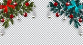 Новый Год Рождество Зеленая и голубая ветвь рождественской елки с игрушками с тенью Угловой чертеж голубой красный цвет Стоковое Фото