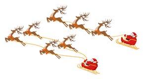 Новый Год Рождество Комплект Санта Клаус на санях с 4 и 3 оленями В цвете иллюстрация иллюстрация вектора