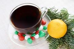 Новый Год рождество моя версия вектора вала портфолио мандарин горячий чай Белая предпосылка Стоковые Изображения