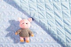 Новый Год связал связанную свинью игрушки на текстурированная и выстеганная предпосылка тканей Плоское положение, верхняя часть р стоковые изображения rf