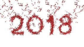 Новый Год 2018 сделал от музыкальных примечаний Стоковые Изображения RF