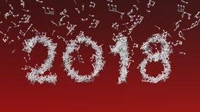 Новый Год 2018 сделал от музыкальных примечаний Стоковое фото RF