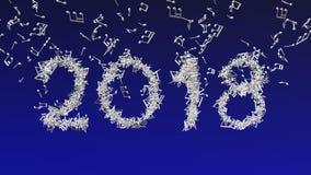 Новый Год 2018 сделал от музыкальных примечаний Стоковые Фото