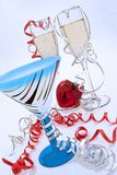 Новый Год сердца слепимости шампанского стеклянные Стоковое Фото