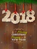 Новый Год 2018 скомканной бумаги против деревянной предпосылки Стоковая Фотография