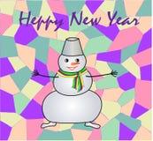 Новый Год снеговика потехи приветствию счастливый Стоковая Фотография