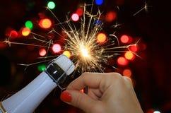 Новый Год феиэрверков предпосылки счастливое Стоковое фото RF
