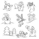 новый год эскиза комплекта иллюстрация штока