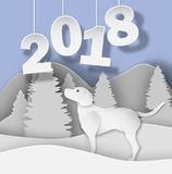 Новый Год 2018 3d резюмирует иллюстрацию отрезка бумаги собаки, дерева, снега, гор иллюстрация штока