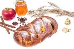 Новый Год Rosh Hashanah Challah, яблока и мед-иллюстрации еврейский на белой предпосылке Стоковая Фотография RF