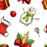 Новый Год xmas безшовной картины с Рождеством Христовым Украшение зимнего отдыха леденец на палочке, снеговик и подарок падуба вы Стоковое Изображение RF