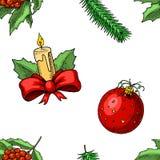 Новый Год xmas безшовной картины с Рождеством Христовым Украшение зимнего отдыха леденец на палочке свечи и падуба, елевая ветвь Стоковые Фотографии RF