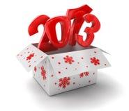 Новый Год 2013 в коробке (включенный путь клиппирования) Иллюстрация штока