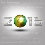 Новый Год 2016 глобуса мира Стоковое Изображение RF