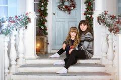 Новый Год и рождество семьи ждать Стоковая Фотография