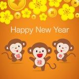 Новый Год 2016 китайцев - дизайн поздравительной открытки Стоковая Фотография