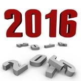 Новый Год 2016 над за одними - изображение 3d Стоковое Изображение RF