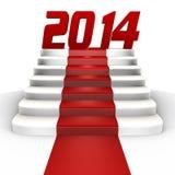 Новый Год 2014 на красном ковре - изображении 3d Стоковое фото RF