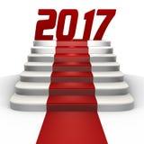 Новый Год 2017 на красном ковре - изображении 3d Стоковое Изображение RF