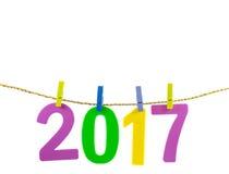 Новый Год 2017 номеров на белой предпосылке Стоковые Изображения
