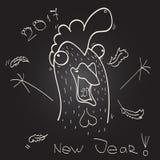 Новый Год петуха чертежа от руки Стоковое фото RF