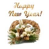 Новый Год приветствию карточки Золотой венок рождества изолированный на белой предпосылке Селективный фокус Стоковое фото RF
