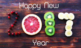 Новый Год 2017 плодоовощ и ягод, карточки Стоковое фото RF