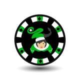 Новый Год рождества казино покера обломока Иллюстрация EPS 10 значка на белое легком для того чтобы отделить предпосылку польза д иллюстрация штока