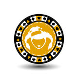 Новый Год рождества обломока покера Иллюстрация EPS 10 значка на белой предпосылке, который нужно отделить легко Польза для вебса Стоковые Изображения RF
