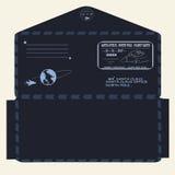 Новый Год рождества письмо santa claus к шаблон, конверт, штемпель вектор Стоковая Фотография RF