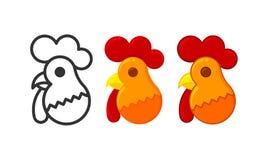 Новый Год Рождество Символ петуха Нового Года икона Emble иллюстрация штока
