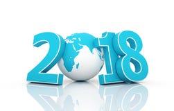 Новый Год 2018 с глобусом Стоковые Фотографии RF