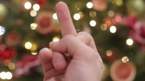 Новый Год украшения рождества Запачканная конспектом предпосылка праздника Bokeh Моргать гирлянда Рождественская елка освещает ме видеоматериал