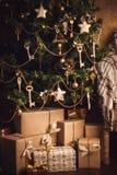 Новый Год украшения рождества коробки присутствующие Стоковое Изображение RF