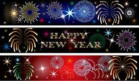 Новый Год феиэрверка 2 знамен Стоковая Фотография RF