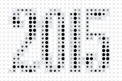 Новый Год 2015 черно-белого Стоковая Фотография