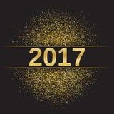 Новый Год 2017 яркого блеска золота счастливый Стоковое Изображение