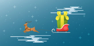 Новый Год xmas Олени и сани летают через небо плоско ST иллюстрация вектора