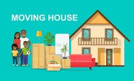 новый дом для семьи Счастливая афро американская изолированная семья Вещи в коробке рядом с хоботом автомобиля двигать дома иллюстрация штока