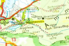 Новый замок Swanstone на карте, Баварии стоковые фото