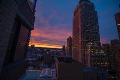 новый заход солнца york Стоковое Изображение RF