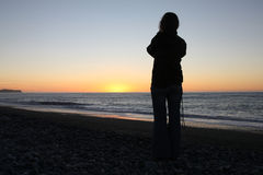 новый заход солнца zealand Стоковое фото RF