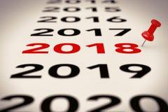 Новый знак 2018 год с красной отметкой Pin перевод 3d Стоковое Изображение RF