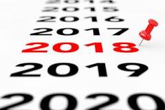 Новый знак 2018 год с красной отметкой Pin перевод 3d Стоковые Фотографии RF