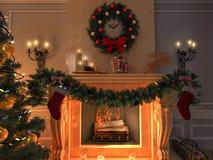 Новый интерьер с рождественской елкой, настоящими моментами и камином открытка иллюстрация штока