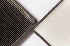 Новый и старый воздушный фильтр автомобиля конец вверх стоковое изображение