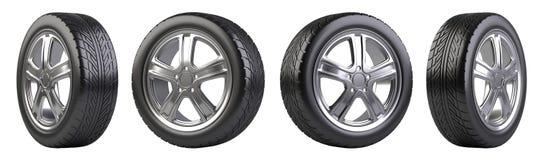 Новый комплект колес автомобиля Стоковые Фото